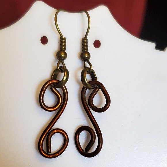 Bronze Hook Spiral Dangle Earrings Casual Artisan